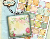Digital print OLD GARDEN 1.5 inch square - writable tag flower images pendant magnet and craft  - instant download printable image - qu419