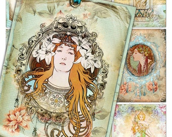 NOSTALGIA old photo aceo size  - Digital collage sheet mucha liberty printable jewelry holder cards - background vintage - ac184