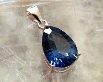 BOXING WEEK Sale 50% Off Blue Topaz pendant solid Sterling silver