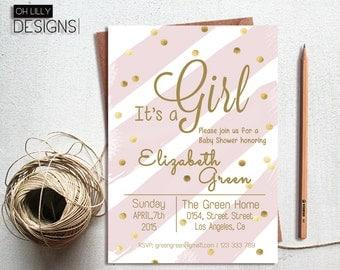 It's a girl baby shower invitation, baby shower invitation for girl, baby shower invitation baby girl, gold glitter invitation