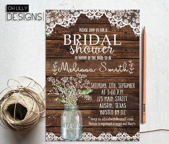 Rustic Wedding Invitation Ideas: Rustic Bridal Shower Invitation Printable Baby's Breath