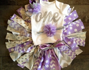 Gorgeous lavender and metallic silver fabric tutu set