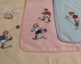 vintage soccer hankies in box, Made in Switzerland, FIFA 1954