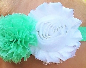 Mint and White Flower Headband