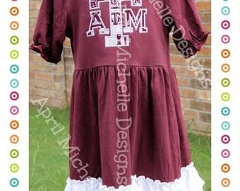 Game Day Dress, Texas A&M Game Day Dress, Ready to Ship, Girls Ruffle Dress, Dresses, ruffle dress, ruffle dresses