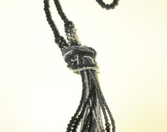 Newest  Black Iridescent Crystal Beaded Knot Necklace With Beaded Tassel 27''