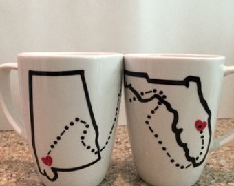 State to State Coffee Mugs//Going Away//Long Distance//Coffee Cups//Custom