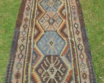 Vintage Caucasian Pattern Turkish Runner