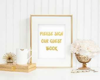 Wedding guest book table sign gold Wedding decoration gold party guest signage Wedding table sign Reception decoration Greeting table sign