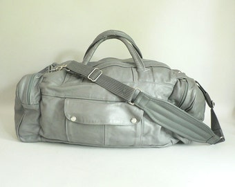 Gray Leather Duffle Bag