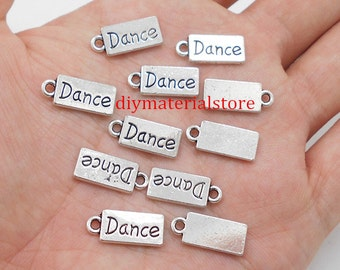 25 - Word Dance Charms Rectangle Shape Antique Silver Tone Pendant 17x7mm