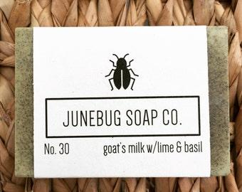 3 PACK: Goat Milk w/Lime & Basil Bar Soap - Lime Soap, Basil Soap, Natural Soap, Goat Milk Soap, Handmade Soap, Bar Soap, Herbal Soap