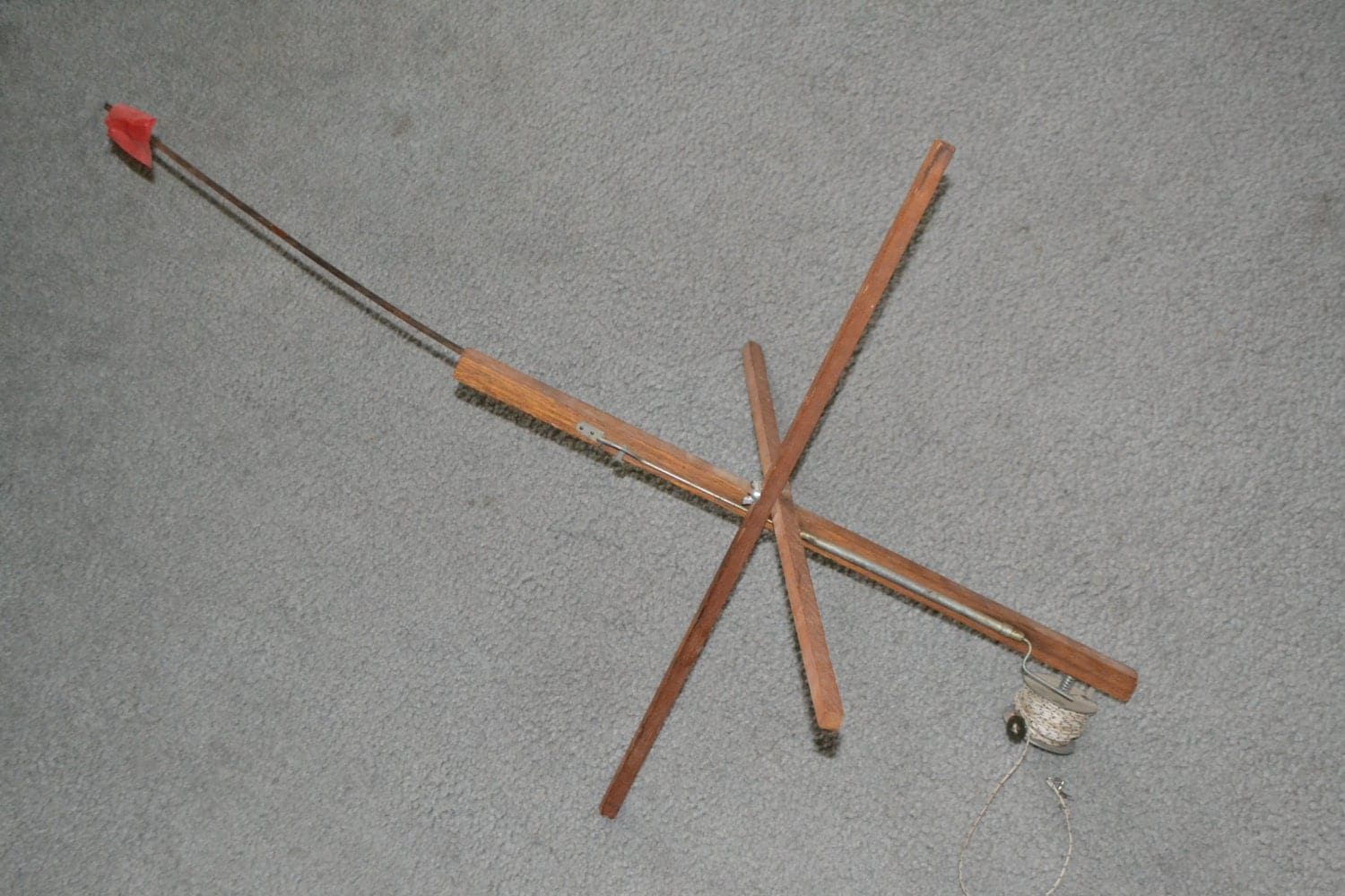 Vintage wooden ice fishing pole with flag free by for Wooden fishing pole