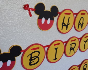Mickey Birthday Banner, Mickey Mouse, Birthday banners