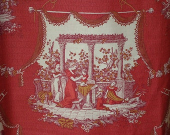 Vintage Toile Pastoral Scenes in Brick Red Cotton Sold by the Yard