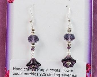 Amethyst Purple Glass & Crystal Tulip Earrings