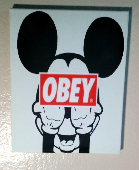 Mickey Mouse Middle Finger Obey Mickey Mouse Obey 8x10 Canvas