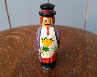 Russian signed Single Wooden Male Doll