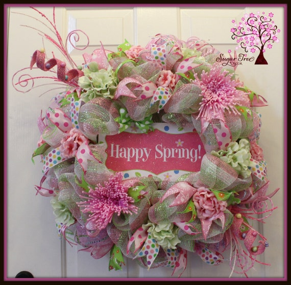 how to make deco mesh and flowers spring wreath