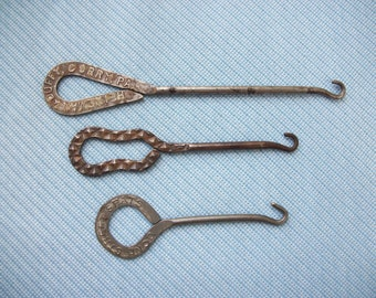 Antique Button Hooks, Set of Three, Advertising