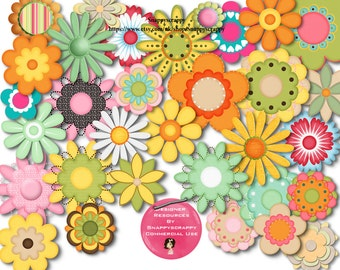 Clipart, Clipart Flowers, Digital Elements, Commercial Use, Flower Clipart, Flowers, Scrapbooking, Card Making, Paper Crafts, Stationery