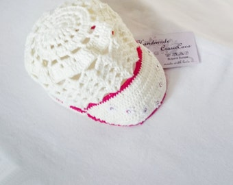 Crochet Summer Baby Hat  Baby Fashion Girl Fashion Creamer Red Flowers Summer Girls Fashion