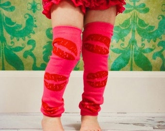 Love Lips Kisses Leg Warmers Baby Crawlers Toddler Leggings  - READY TO SHIP