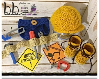 Construction Worker Crochet set Phot Prop - Newborn to 12 month - made to order