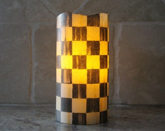 Vanilla Scented Flameless LED Pillar Candle made with Mackenzie-Childs Courtly Check Tissue Paper