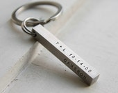Custom 3d Bar Keychain, Personalized Key chain, Engraved Kids Names key ring, wedding date key chain, Key Fob, Father's Day stamp on 4 sides