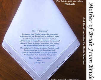 Mother of the Bride Gift Handkerchief  0118 Sign & Date Free!   5 MOB Wedding Hankerchief Styles and 8 Ink Colors.
