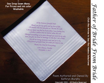 Father of the Bride Gift Wedding Handkerchief  0215  Sign and Date for Free!  8 Ink Colors ~ FOB Handkerchief from the Bride
