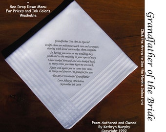 Grandfather of the Bride Hankie 1601  Sign & Date For Free! ~ 8 Ink Colors FOG Wedding hankie from the Groom