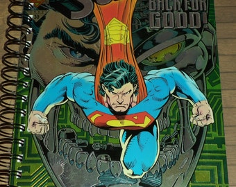 Superman comic upcycled journal notebook, DC comic journal, Reign of the Supermen journal, Superman sketchbook!