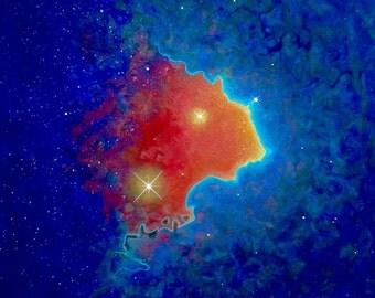 "Blue Nebula Art Print 11""x 14"""