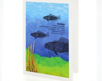 Kopukopu illustration. A6 greeting card with envelope – New Zealand native fish series.