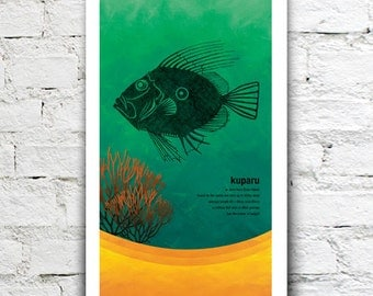 Kuparu illustration print – New Zealand native fish series. 2 sizes, limited series.