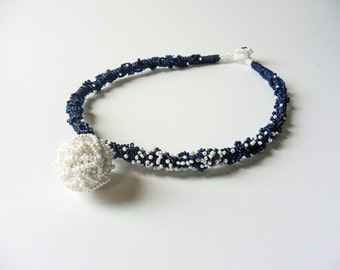 Bead Embroidery Necklace Bead Embroidered Beadwork Navy Color Beadwork Necklace Beaded Ball Prussian Blue and White