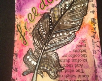 Original ACEO Art Card Freedom Feather Painting