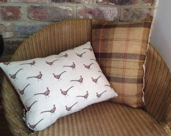 Pheasant Cushion Handmade with Wool Plaid back