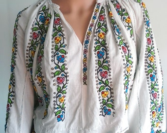 Antique Romanian hand beaded top blouse