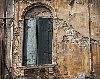 20 x 16 Instant Digital Download Fine Art Photo, sandstone window arch, wooden shutters & decaying plaster/brick wall in Venice, Italy.