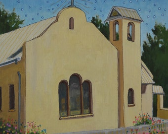 "Original Oil Painting, size 12""x12"", titled ""The Other Church"""