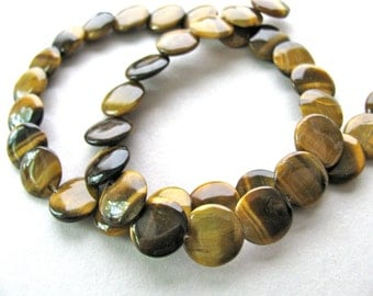 Tiger Eye, 15 inch strand, overlapping coins, 13mm - #152