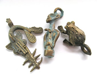 African brass pendant beads, lost wax castings, shark, fertility symbol and frog - #85