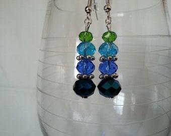 Blue Purple and Silver Earrings    EA227