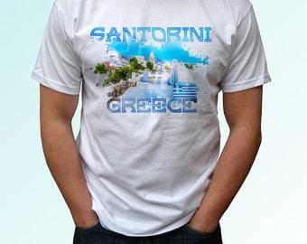 Santorini - new white t shirt Greece print design 100% cotton - Mens, womens, kids & baby clothing - all sizes!