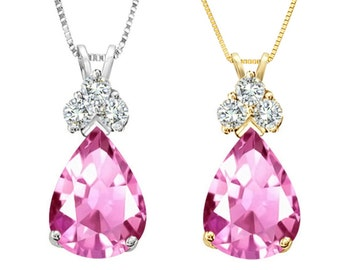 Tousi Jewelers Pink Topaz Necklace - 1.50 ct Pink Topaz in Real Solid 14 k Gold w-3 Accent white sapphire - Nice Gift for Her