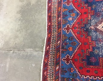 Vintage 1950's hamadan from Iran.  Cotton and wool.  Main colors are red and blue
