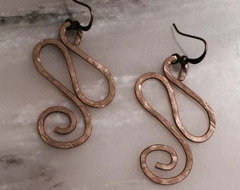 Fancy Copper Scroll Earrings
